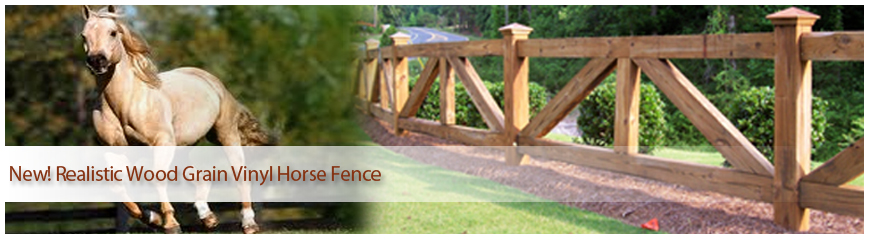 Wood Grain Vinyl Horse Fence
